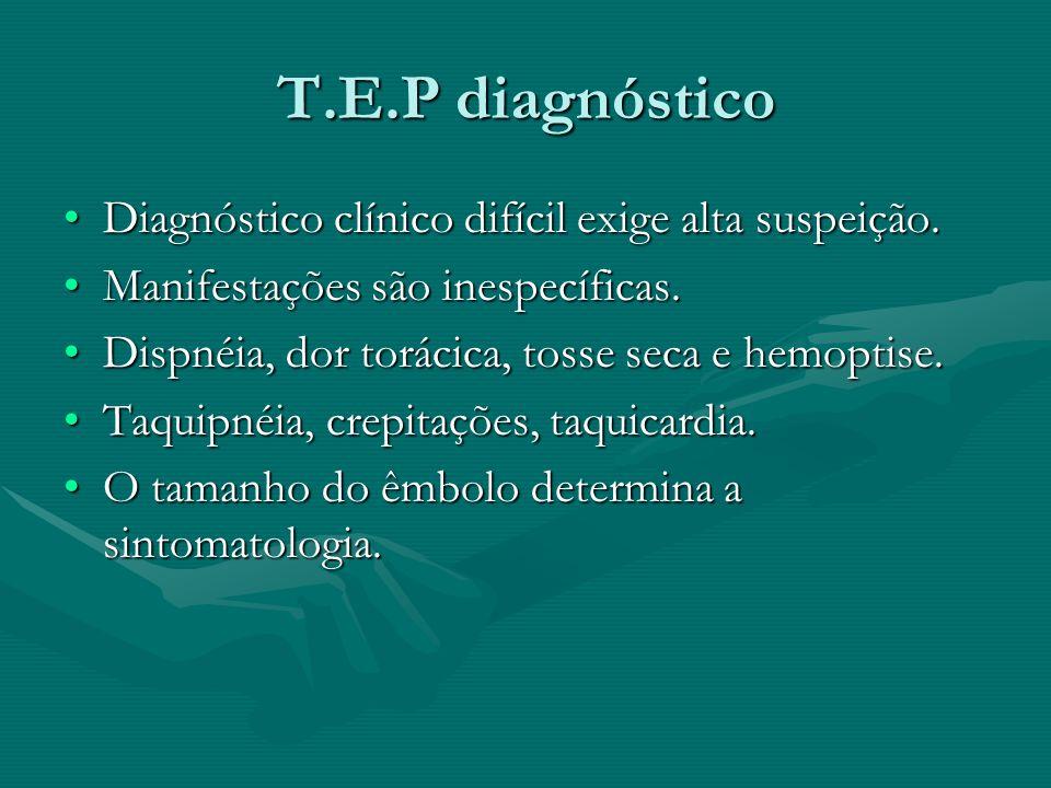 T.E.P diagnóstico Diagnóstico clínico difícil exige alta suspeição.Diagnóstico clínico difícil exige alta suspeição. Manifestações são inespecíficas.M