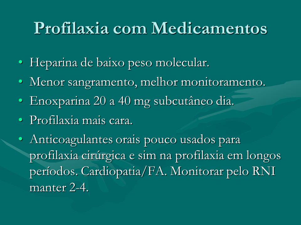 Profilaxia com Medicamentos Heparina de baixo peso molecular.Heparina de baixo peso molecular. Menor sangramento, melhor monitoramento.Menor sangramen
