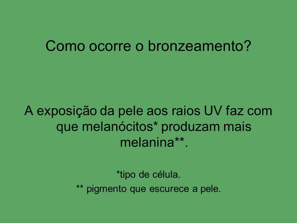 Como ocorre o bronzeamento? A exposição da pele aos raios UV faz com que melanócitos* produzam mais melanina**. *tipo de célula. ** pigmento que escur