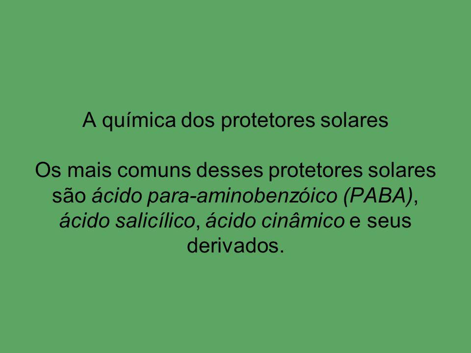 A química dos protetores solares Os mais comuns desses protetores solares são ácido para-aminobenzóico (PABA), ácido salicílico, ácido cinâmico e seus