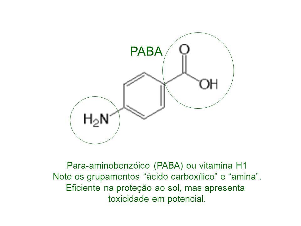Para-aminobenzóico (PABA) ou vitamina H1 Note os grupamentos ácido carboxílico e amina. Eficiente na proteção ao sol, mas apresenta toxicidade em pote