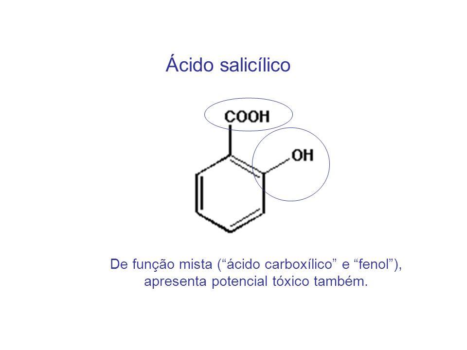 Ácido salicílico De função mista (ácido carboxílico e fenol), apresenta potencial tóxico também.
