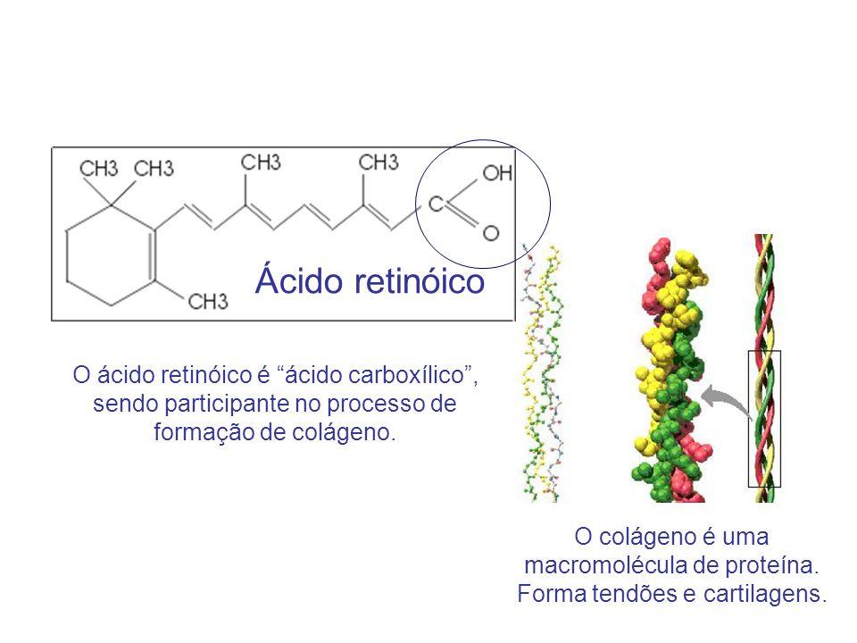 O colágeno é uma macromolécula de proteína. Forma tendões e cartilagens. Ácido retinóico O ácido retinóico é ácido carboxílico, sendo participante no