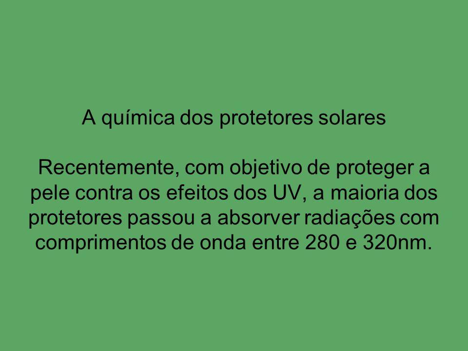 A química dos protetores solares Recentemente, com objetivo de proteger a pele contra os efeitos dos UV, a maioria dos protetores passou a absorver ra