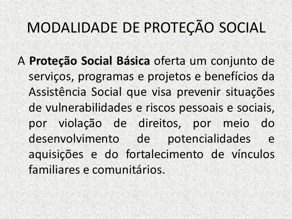 MODALIDADE DE PROTEÇÃO SOCIAL A Proteção Social Básica oferta um conjunto de serviços, programas e projetos e benefícios da Assistência Social que vis