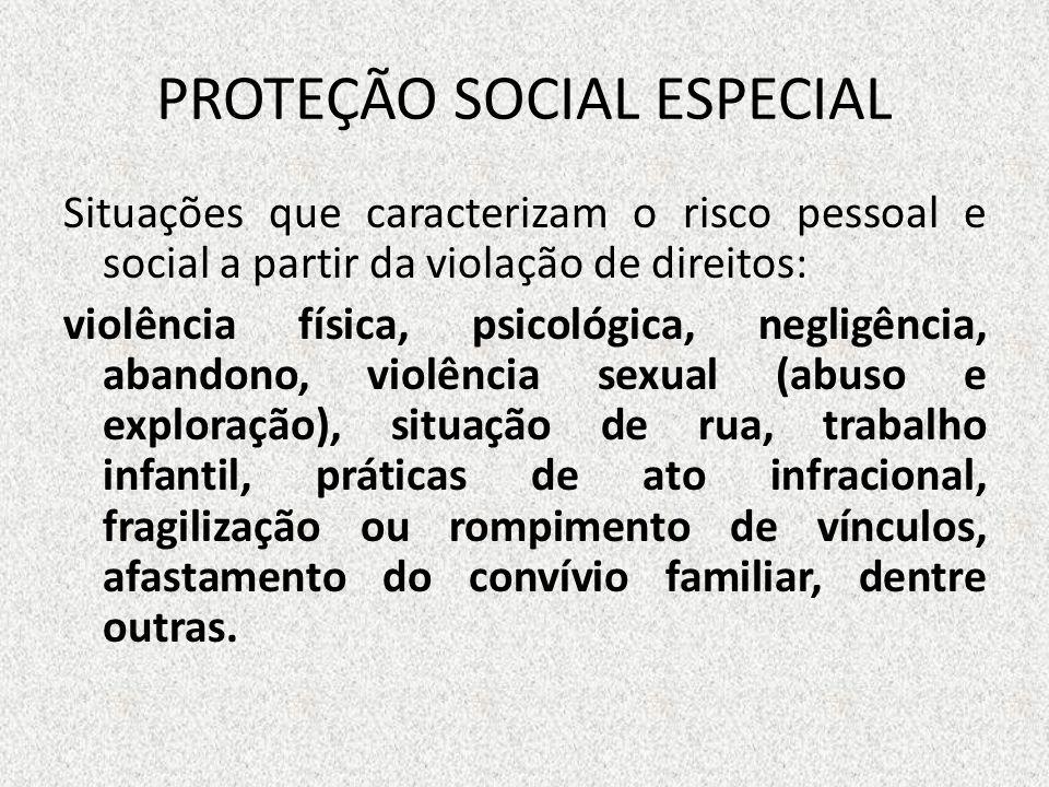 PROTEÇÃO SOCIAL ESPECIAL Situações que caracterizam o risco pessoal e social a partir da violação de direitos: violência física, psicológica, negligên