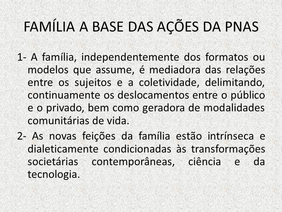 FAMÍLIA A BASE DAS AÇÕES DA PNAS 1- A família, independentemente dos formatos ou modelos que assume, é mediadora das relações entre os sujeitos e a co