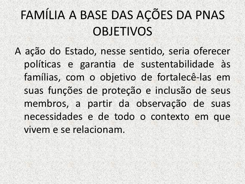 FAMÍLIA A BASE DAS AÇÕES DA PNAS OBJETIVOS A ação do Estado, nesse sentido, seria oferecer políticas e garantia de sustentabilidade às famílias, com o