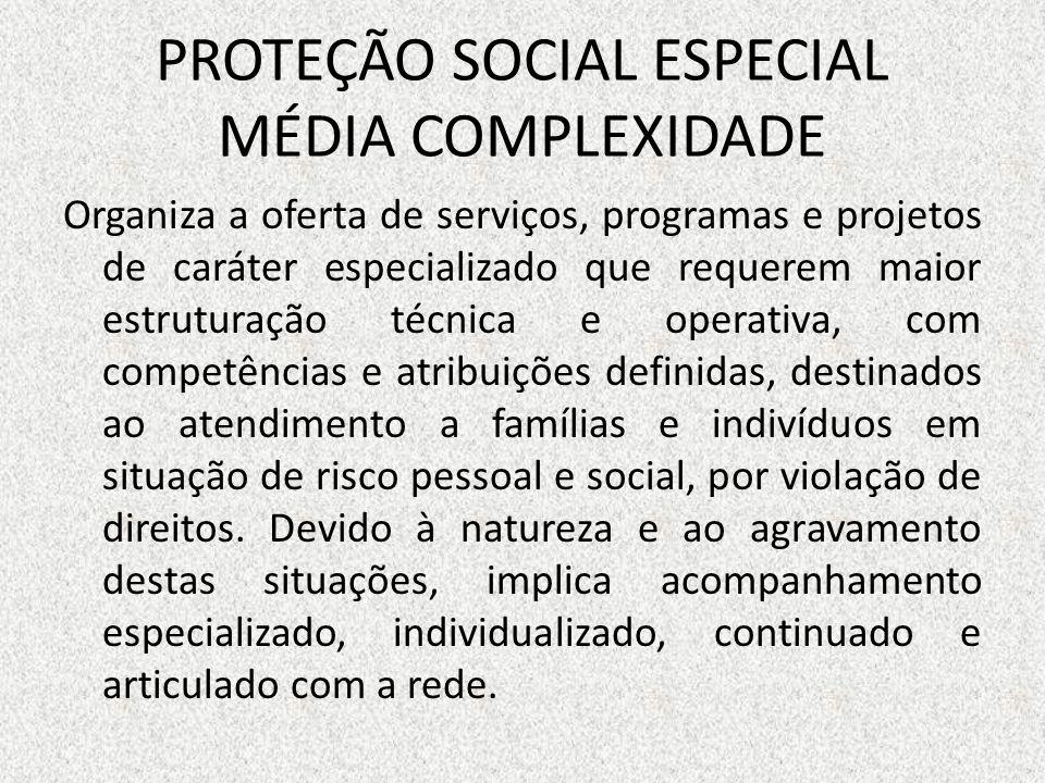 PROTEÇÃO SOCIAL ESPECIAL MÉDIA COMPLEXIDADE Organiza a oferta de serviços, programas e projetos de caráter especializado que requerem maior estruturaç
