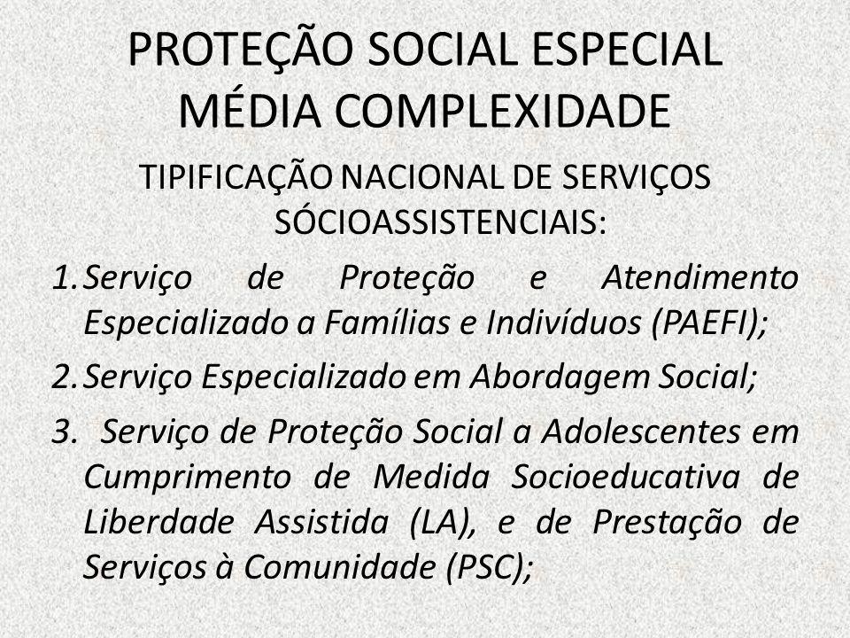 PROTEÇÃO SOCIAL ESPECIAL MÉDIA COMPLEXIDADE TIPIFICAÇÃO NACIONAL DE SERVIÇOS SÓCIOASSISTENCIAIS: 1.Serviço de Proteção e Atendimento Especializado a F