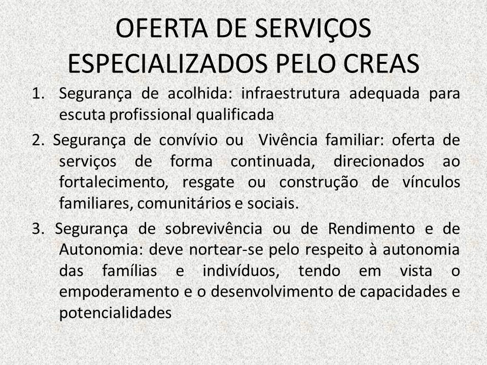 OFERTA DE SERVIÇOS ESPECIALIZADOS PELO CREAS 1.Segurança de acolhida: infraestrutura adequada para escuta profissional qualificada 2. Segurança de con