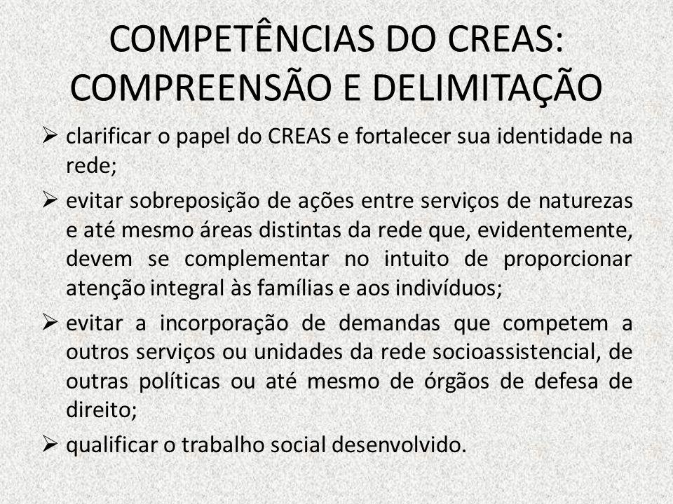 COMPETÊNCIAS DO CREAS: COMPREENSÃO E DELIMITAÇÃO clarificar o papel do CREAS e fortalecer sua identidade na rede; evitar sobreposição de ações entre s