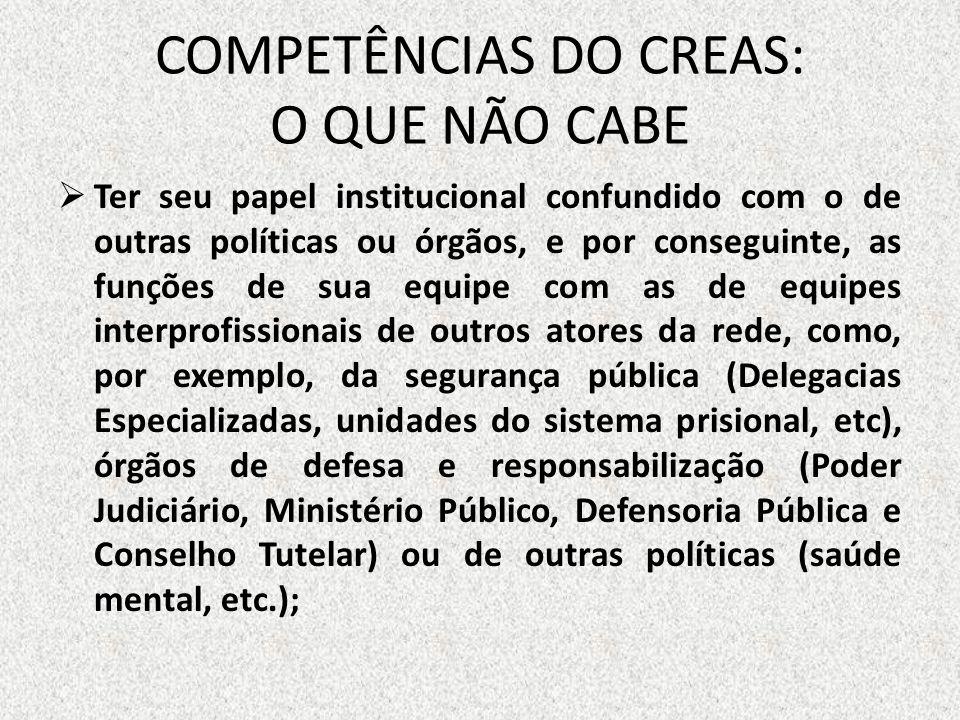 COMPETÊNCIAS DO CREAS: O QUE NÃO CABE Ter seu papel institucional confundido com o de outras políticas ou órgãos, e por conseguinte, as funções de sua