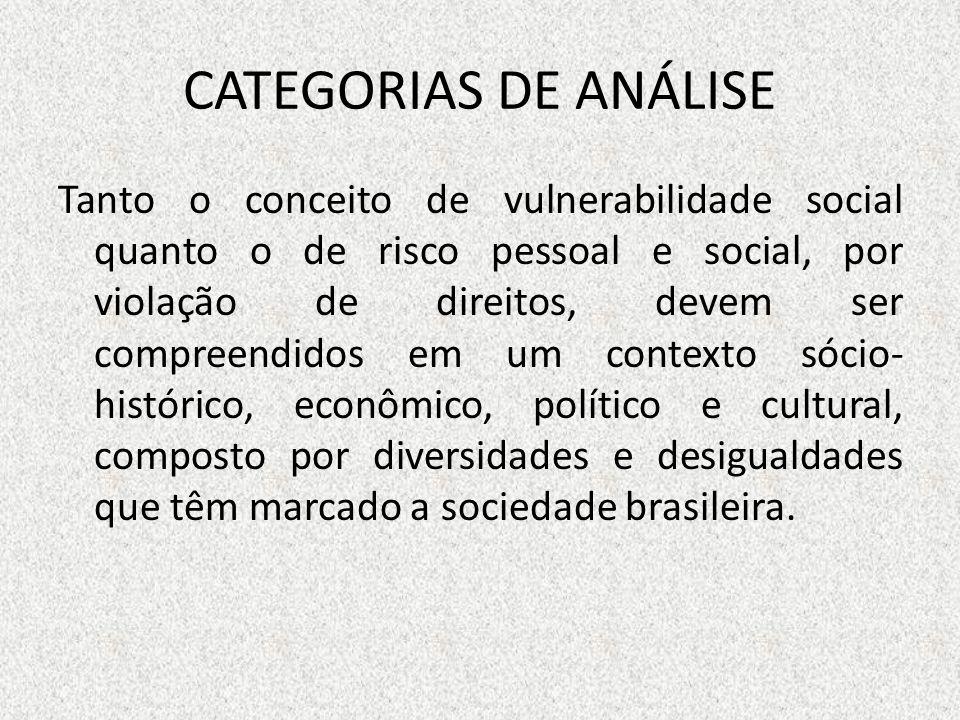 CATEGORIAS DE ANÁLISE Tanto o conceito de vulnerabilidade social quanto o de risco pessoal e social, por violação de direitos, devem ser compreendidos