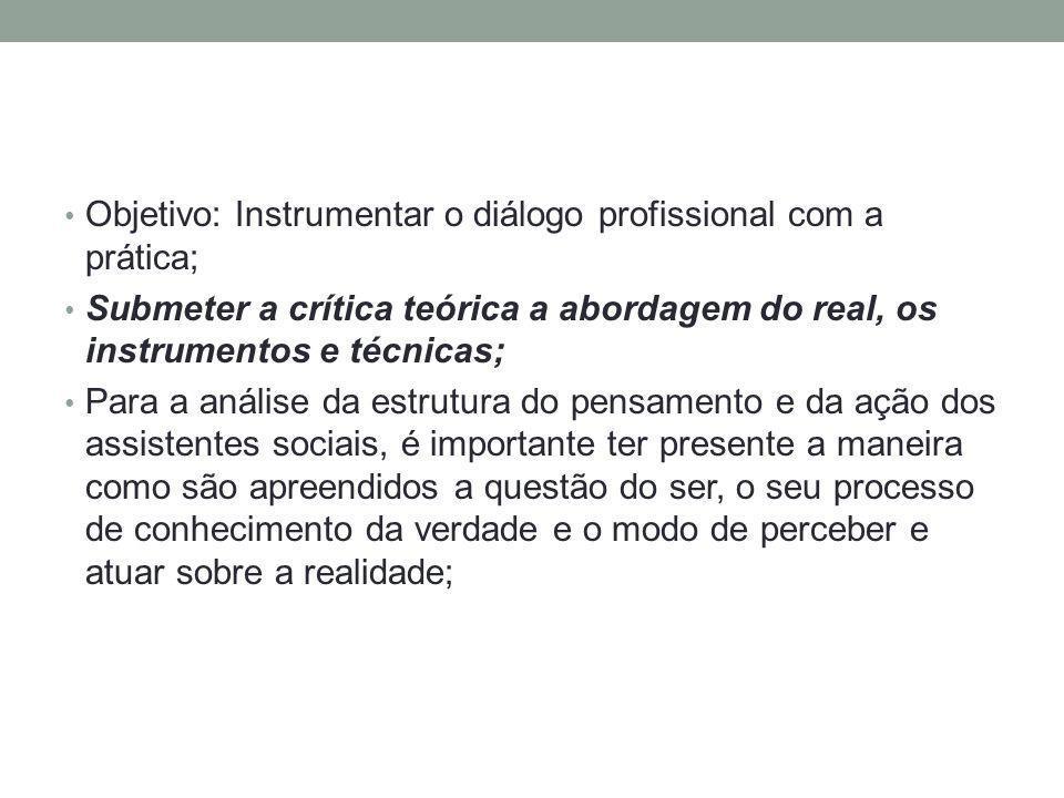 Objetivo: Instrumentar o diálogo profissional com a prática; Submeter a crítica teórica a abordagem do real, os instrumentos e técnicas; Para a anális