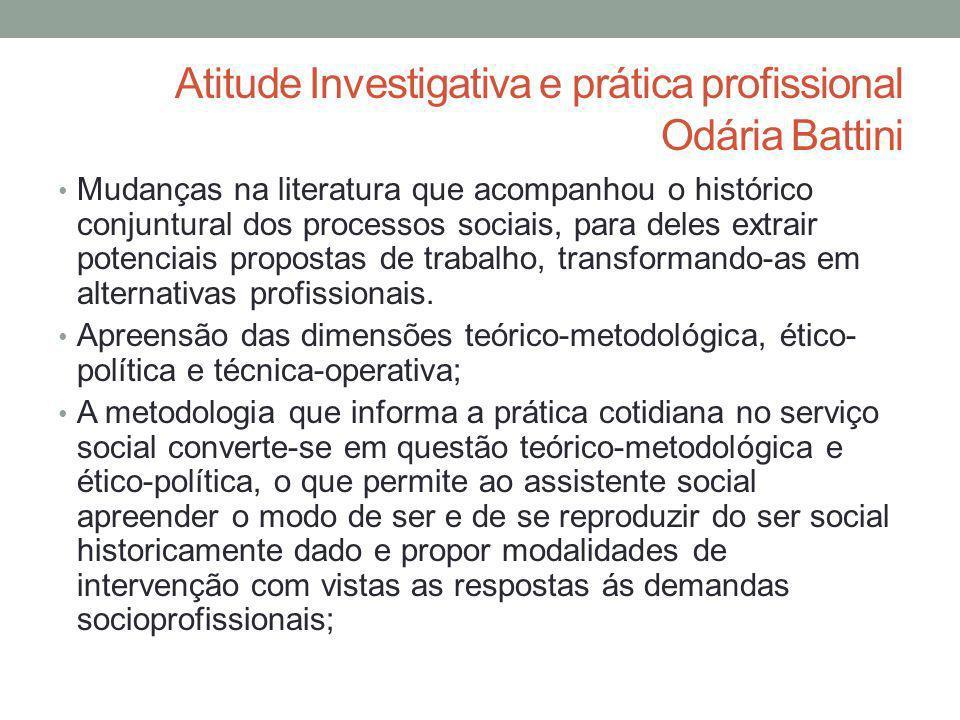Atitude Investigativa e prática profissional Odária Battini Mudanças na literatura que acompanhou o histórico conjuntural dos processos sociais, para