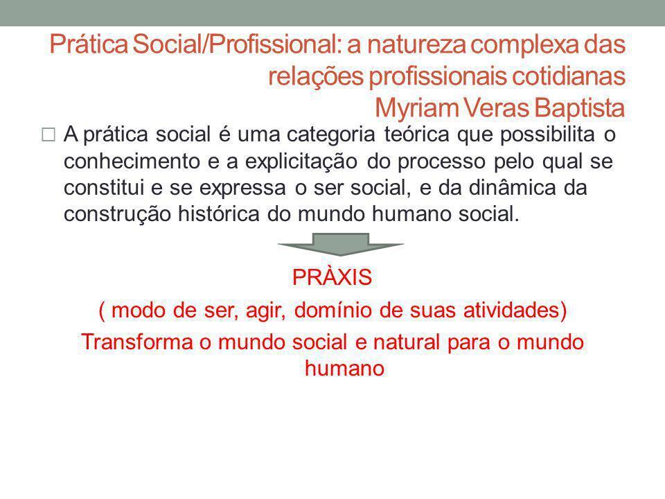 Prática Social/Profissional: a natureza complexa das relações profissionais cotidianas Myriam Veras Baptista A prática social é uma categoria teórica