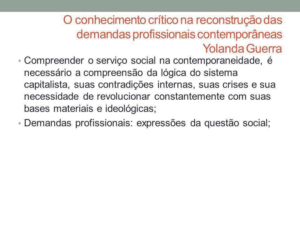 O conhecimento crítico na reconstrução das demandas profissionais contemporâneas Yolanda Guerra Compreender o serviço social na contemporaneidade, é n