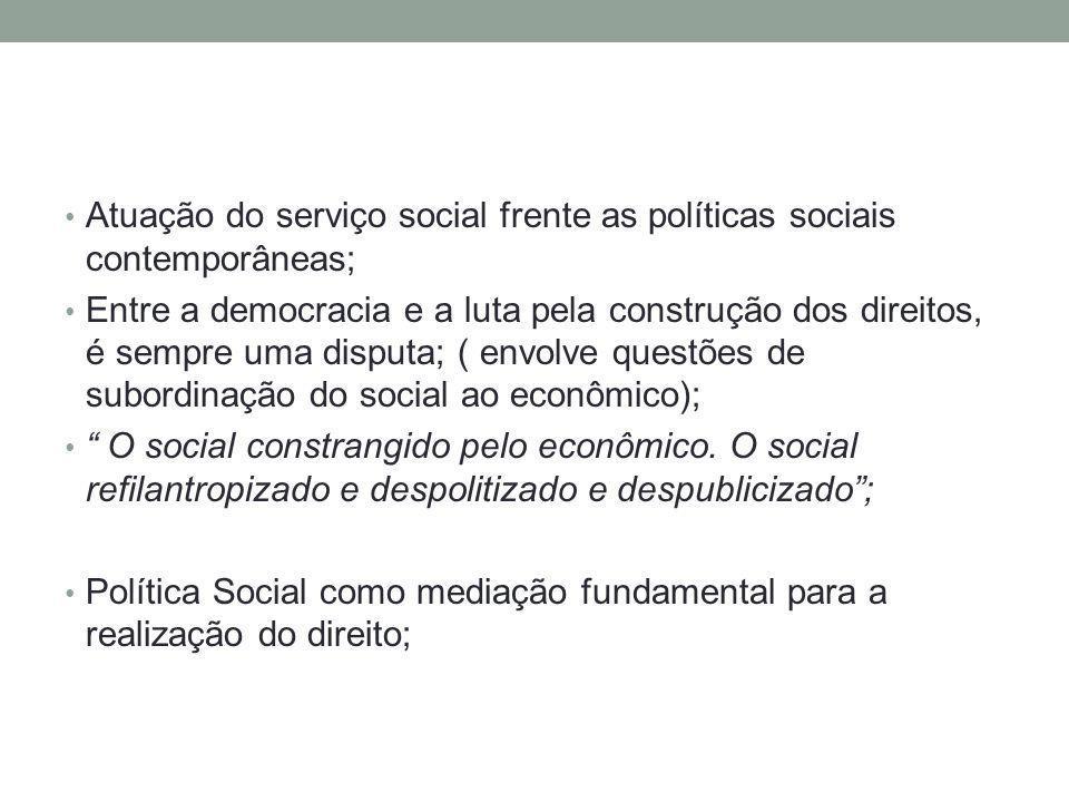 Atuação do serviço social frente as políticas sociais contemporâneas; Entre a democracia e a luta pela construção dos direitos, é sempre uma disputa;