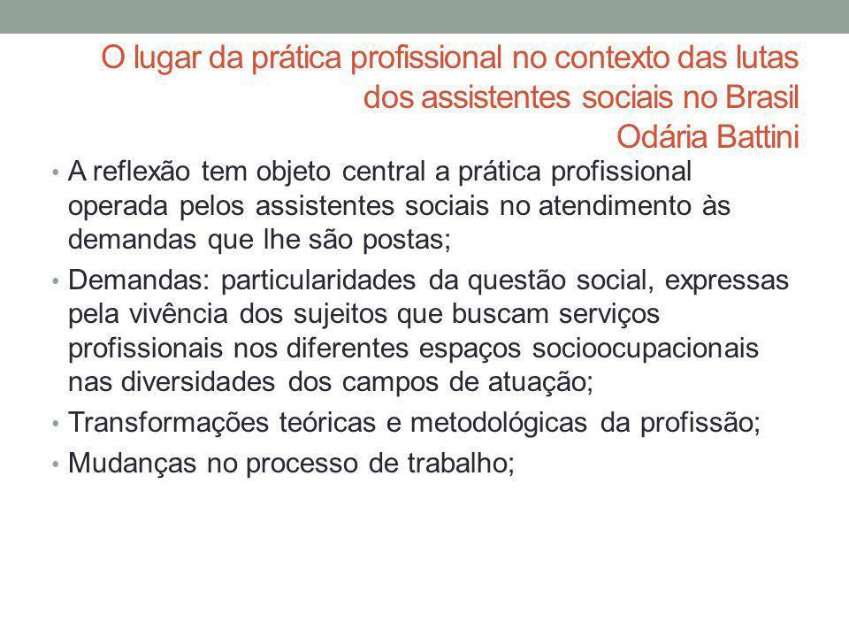 O lugar da prática profissional no contexto das lutas dos assistentes sociais no Brasil Odária Battini A reflexão tem objeto central a prática profiss