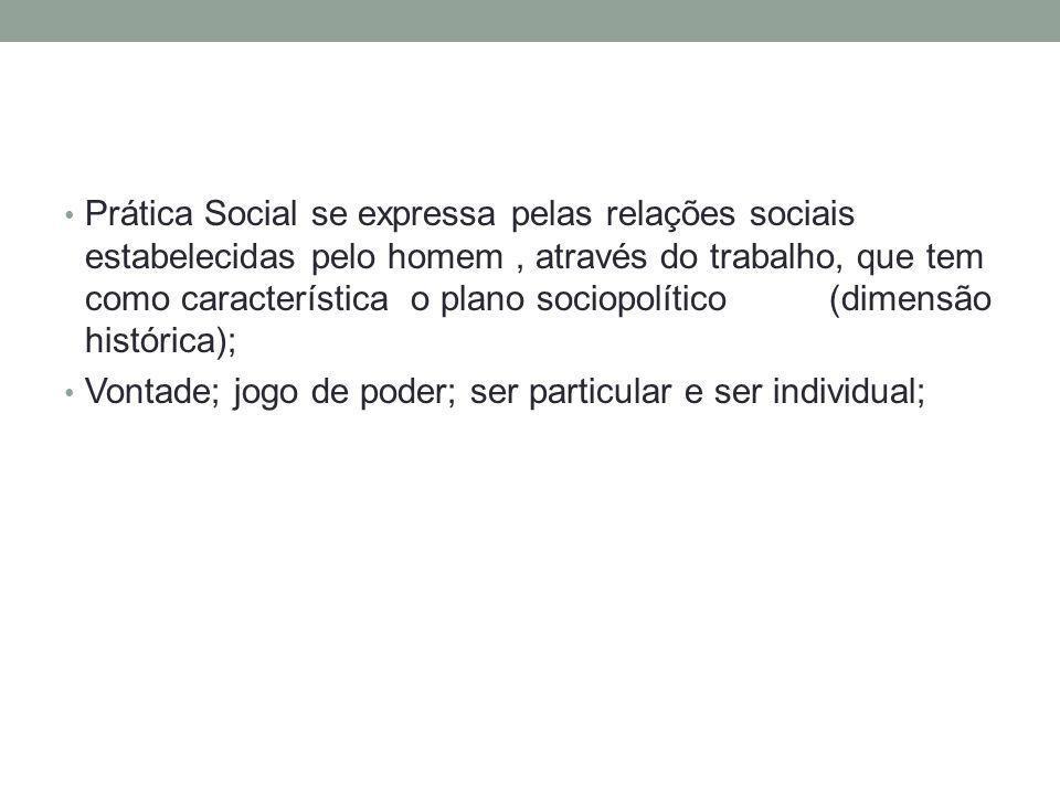 Prática Social se expressa pelas relações sociais estabelecidas pelo homem, através do trabalho, que tem como característica o plano sociopolítico (di