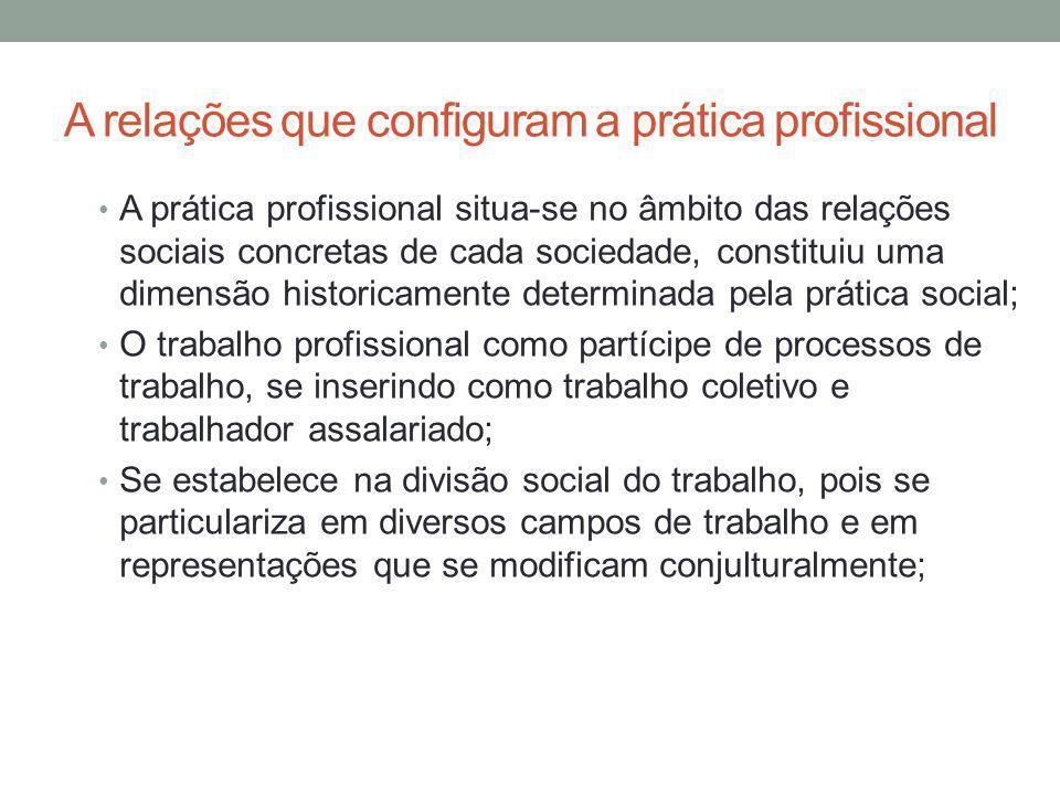 A relações que configuram a prática profissional A prática profissional situa-se no âmbito das relações sociais concretas de cada sociedade, constitui