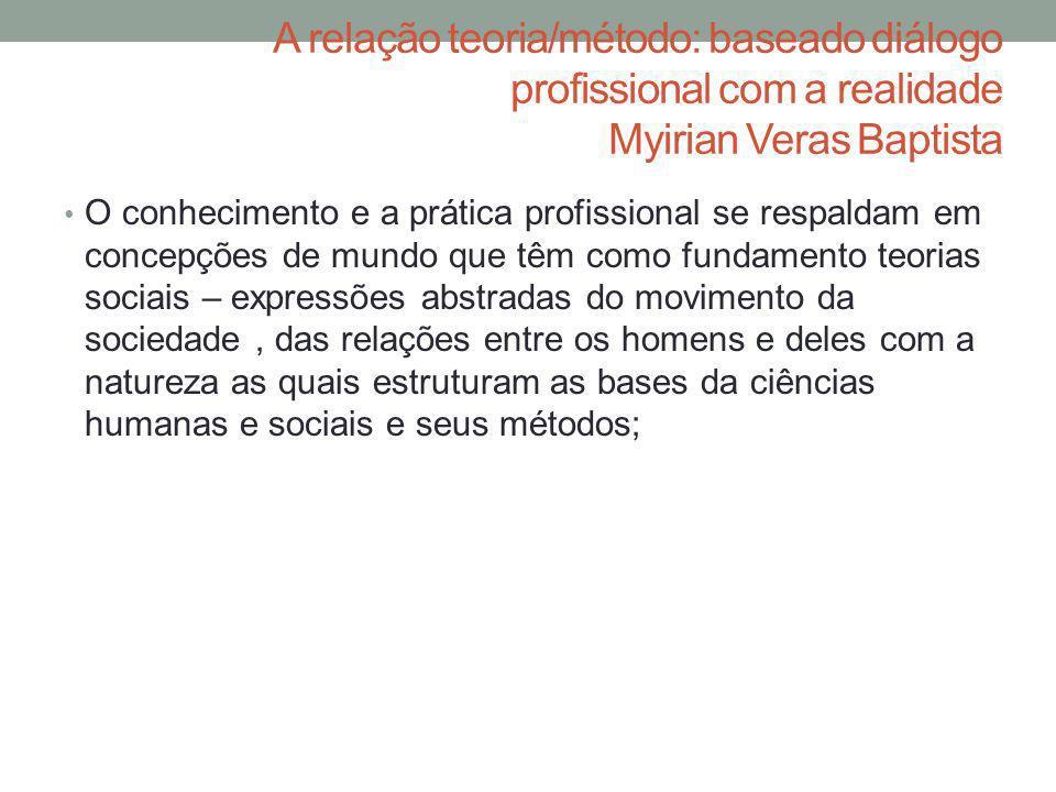 A relação teoria/método: baseado diálogo profissional com a realidade Myirian Veras Baptista O conhecimento e a prática profissional se respaldam em c