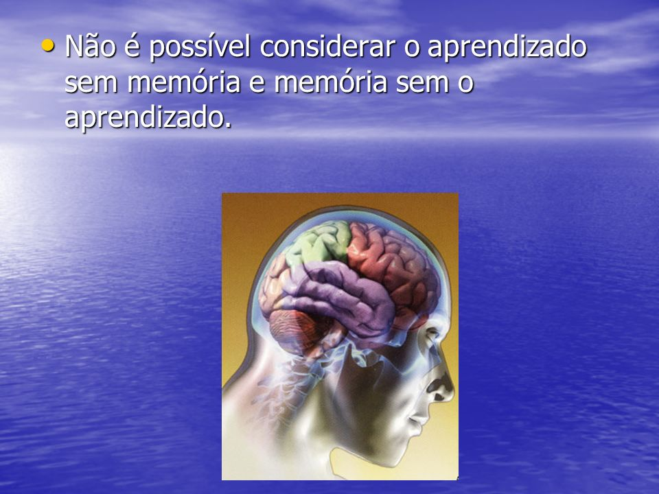 Não é possível considerar o aprendizado sem memória e memória sem o aprendizado. Não é possível considerar o aprendizado sem memória e memória sem o a
