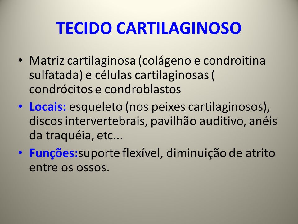 TECIDO CARTILAGINOSO Matriz cartilaginosa (colágeno e condroitina sulfatada) e células cartilaginosas ( condrócitos e condroblastos Locais: esqueleto (nos peixes cartilaginosos), discos intervertebrais, pavilhão auditivo, anéis da traquéia, etc...
