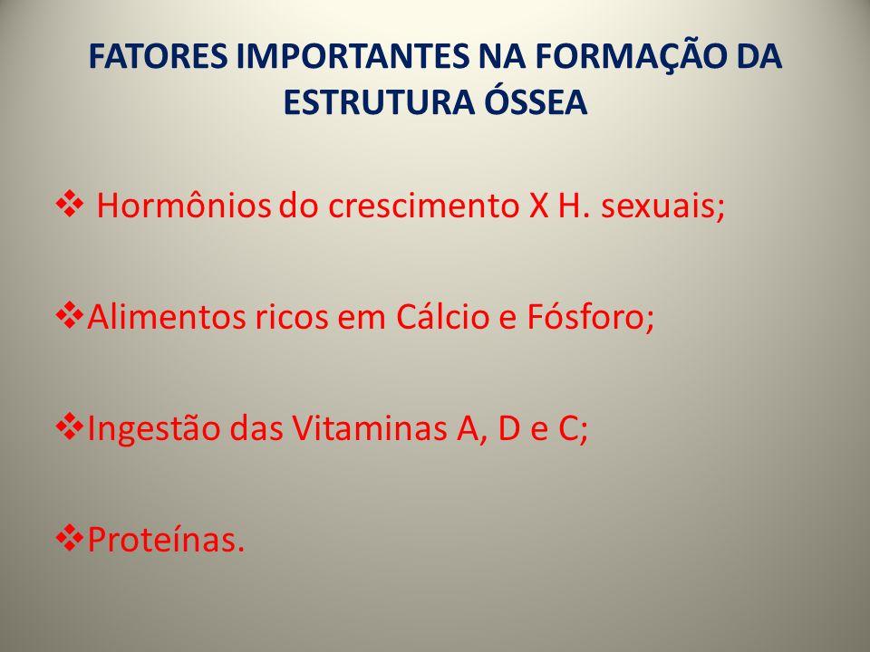 FATORES IMPORTANTES NA FORMAÇÃO DA ESTRUTURA ÓSSEA Hormônios do crescimento X H.