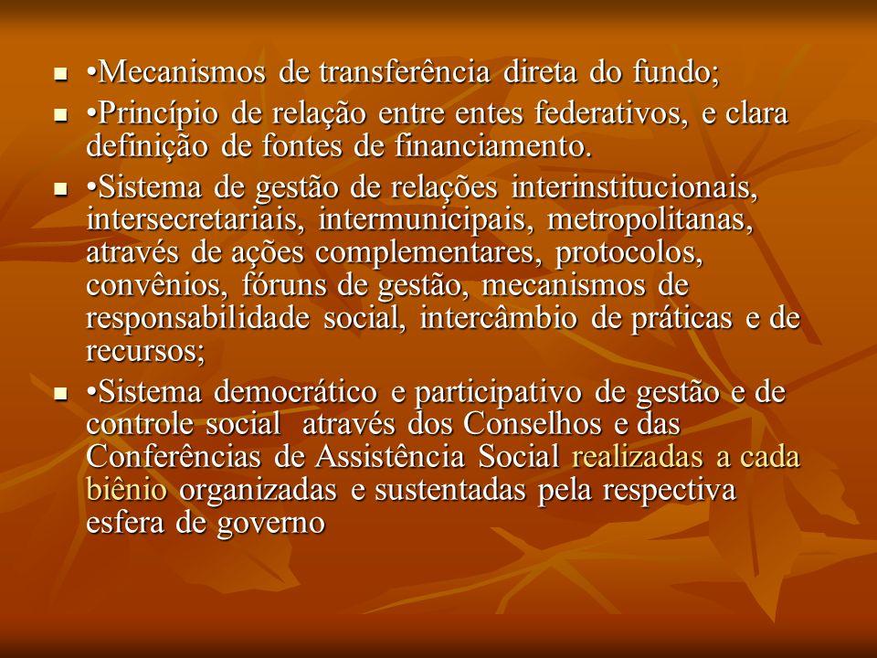 Mecanismos de transferência direta do fundo; Mecanismos de transferência direta do fundo; Princípio de relação entre entes federativos, e clara definição de fontes de financiamento.