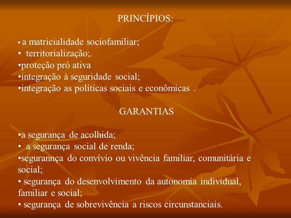 PRINCÍPIOS: a matricialidade sociofamiliar; territorialização;. proteção pró ativa integração à seguridade social; integração as políticas sociais e e
