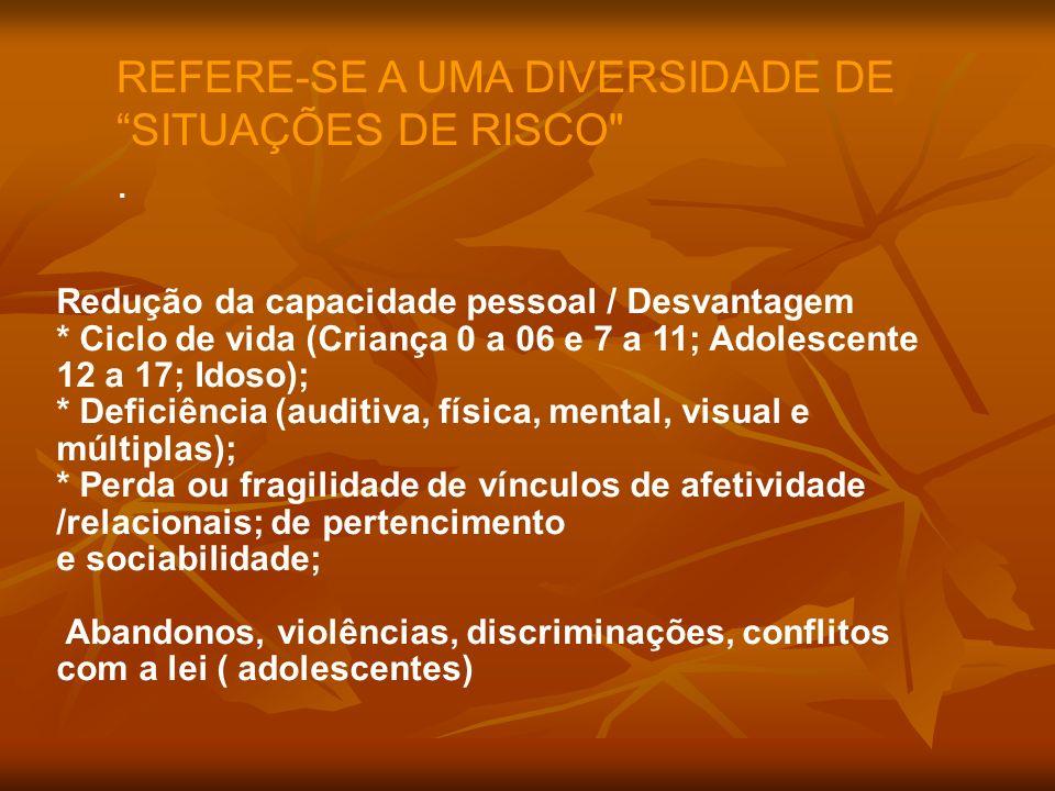 REFERE-SE A UMA DIVERSIDADE DE SITUAÇÕES DE RISCO
