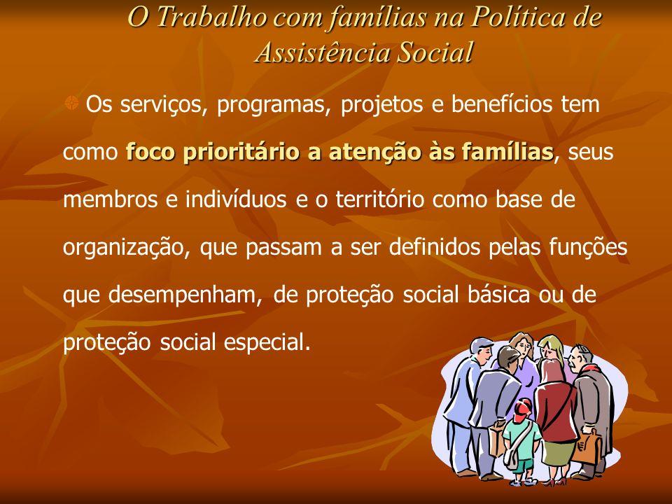 O Trabalho com famílias na Política de Assistência Social foco prioritário a atenção às famílias Os serviços, programas, projetos e benefícios tem com