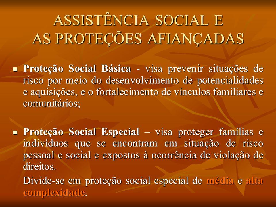 ASSISTÊNCIA SOCIAL E AS PROTEÇÕES AFIANÇADAS Proteção Social Básica - visa prevenir situações de risco por meio do desenvolvimento de potencialidades