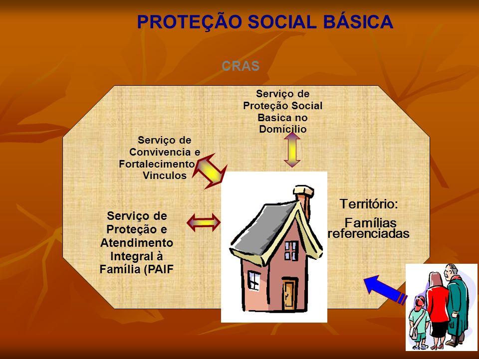 PROTEÇÃO SOCIAL BÁSICA Serviço de Proteção e Atendimento Integral à Família (PAIF Serviço de Convivencia e Fortalecimento de Vinculos Serviço de Proteção Social Basica no Domícilio Território: Famílias referenciadas CRAS