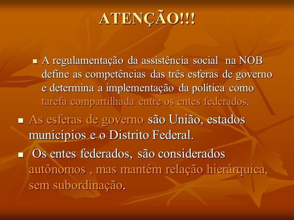 ATENÇÃO!!! A regulamentação da assistência social na NOB define as competências das três esferas de governo e determina a implementação da política co