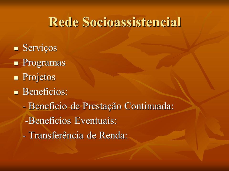 Rede Socioassistencial Serviços Serviços Programas Programas Projetos Projetos Benefícios: Benefícios: - Benefício de Prestação Continuada: - Benefíci