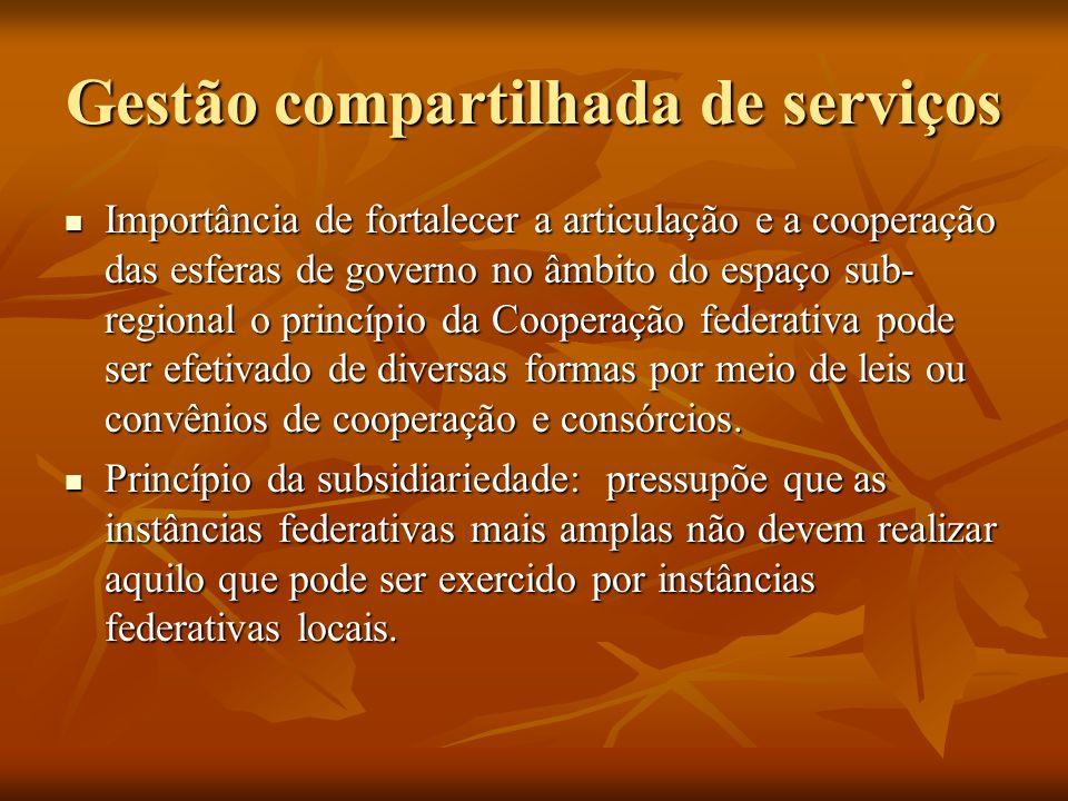 Gestão compartilhada de serviços Importância de fortalecer a articulação e a cooperação das esferas de governo no âmbito do espaço sub- regional o princípio da Cooperação federativa pode ser efetivado de diversas formas por meio de leis ou convênios de cooperação e consórcios.