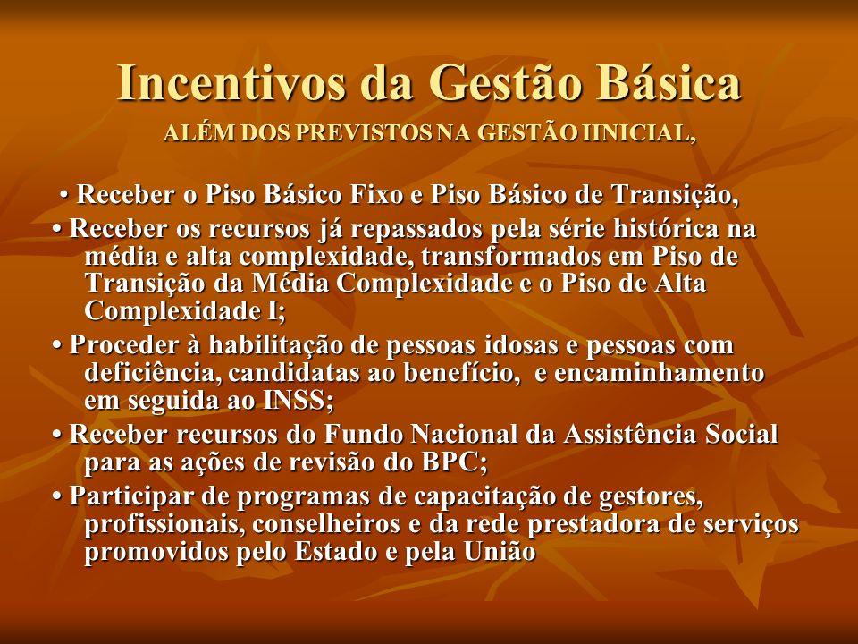 Incentivos da Gestão Básica ALÉM DOS PREVISTOS NA GESTÃO IINICIAL, Receber o Piso Básico Fixo e Piso Básico de Transição, Receber o Piso Básico Fixo e