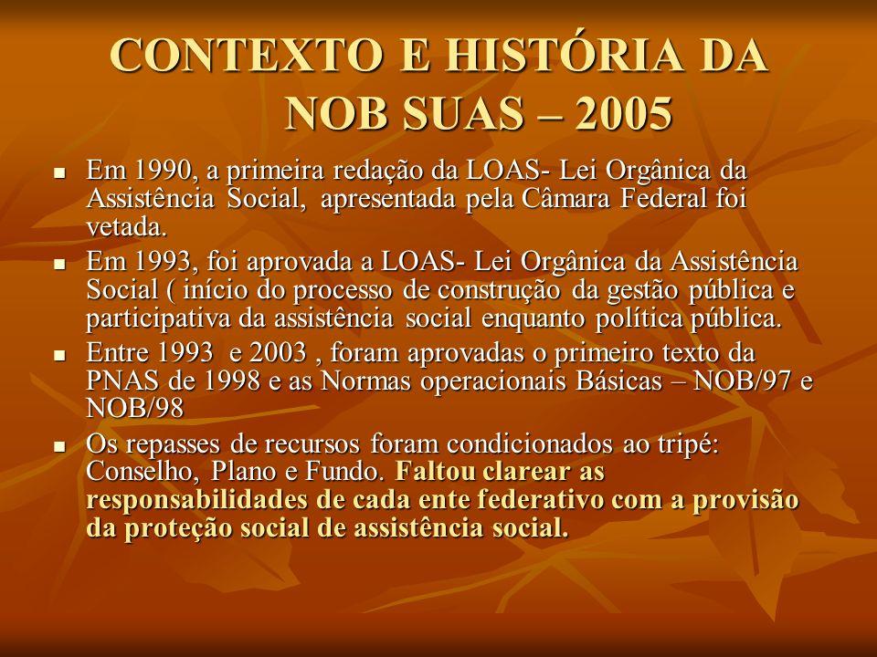 CONTEXTO E HISTÓRIA DA NOB SUAS – 2005 Em 1990, a primeira redação da LOAS- Lei Orgânica da Assistência Social, apresentada pela Câmara Federal foi vetada.