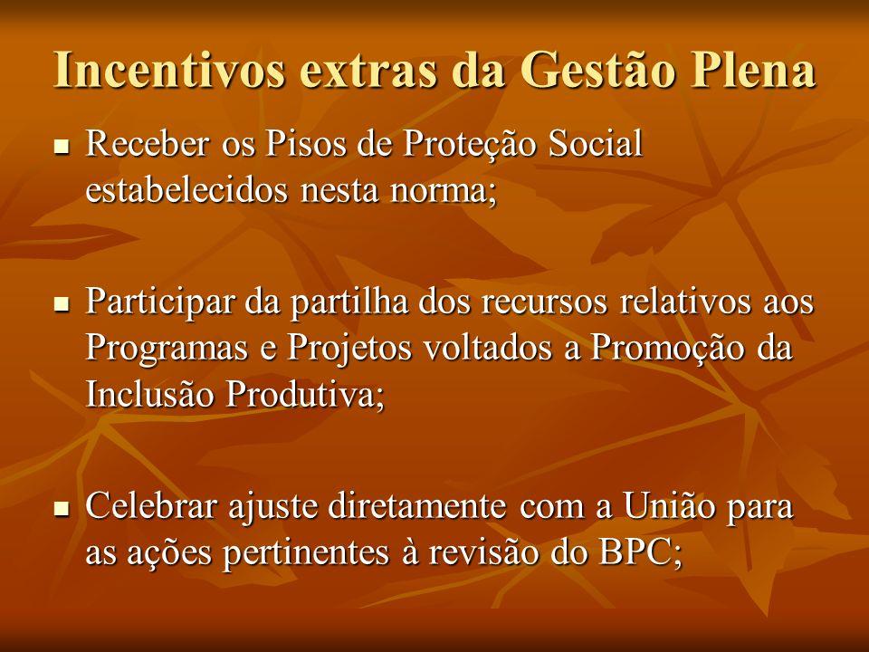 Incentivos extras da Gestão Plena Receber os Pisos de Proteção Social estabelecidos nesta norma; Receber os Pisos de Proteção Social estabelecidos nes