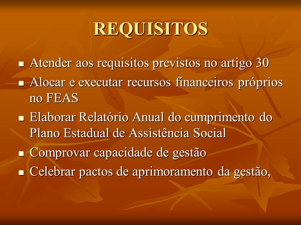 REQUISITOS Atender aos requisitos previstos no artigo 30 Atender aos requisitos previstos no artigo 30 Alocar e executar recursos financeiros próprios
