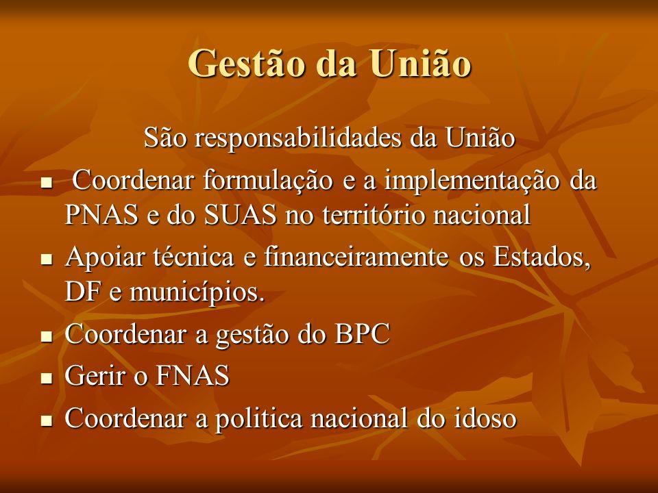 Gestão da União São responsabilidades da União Coordenar formulação e a implementação da PNAS e do SUAS no território nacional Coordenar formulação e a implementação da PNAS e do SUAS no território nacional Apoiar técnica e financeiramente os Estados, DF e municípios.