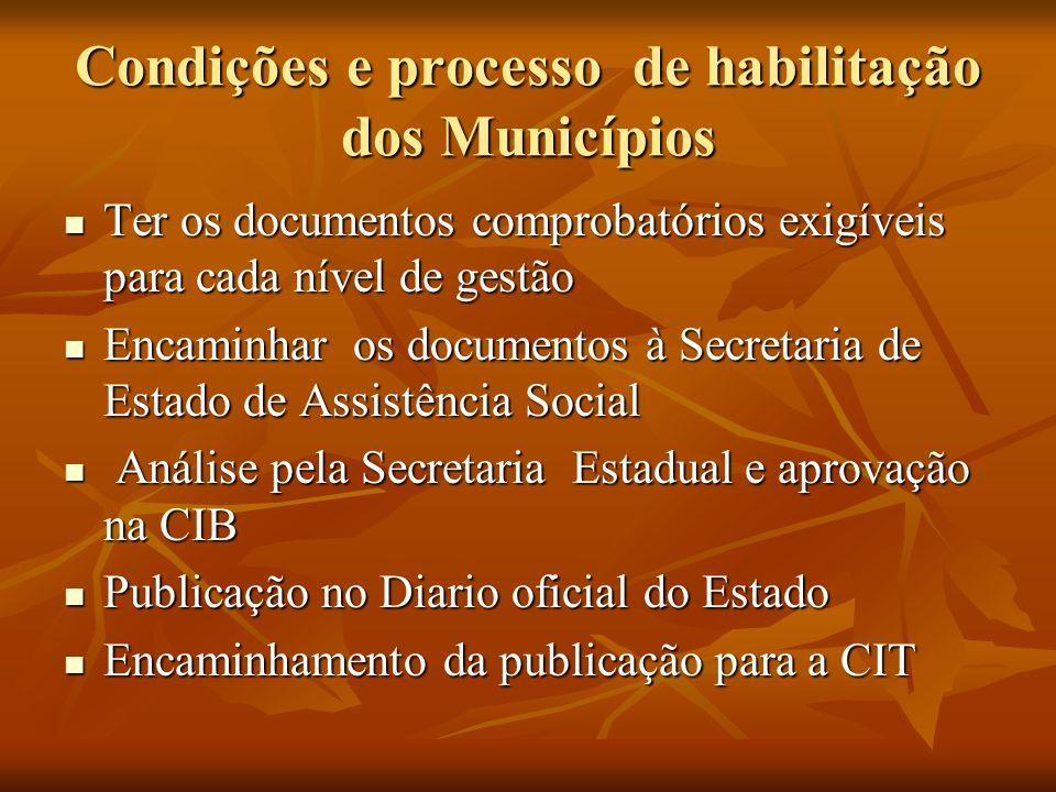 Condições e processo de habilitação dos Municípios Ter os documentos comprobatórios exigíveis para cada nível de gestão Ter os documentos comprobatóri