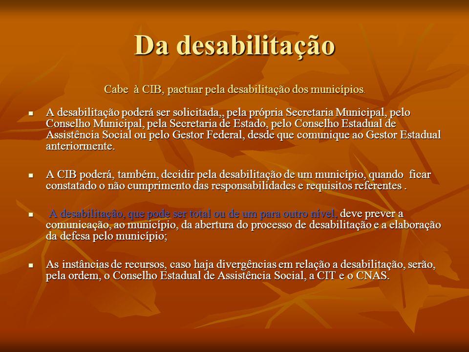 Da desabilitação Cabe à CIB, pactuar pela desabilitação dos municípios. A desabilitação poderá ser solicitada,, pela própria Secretaria Municipal, pel