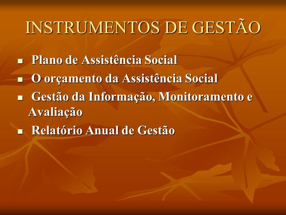 INSTRUMENTOS DE GESTÃO Plano de Assistência Social Plano de Assistência Social O orçamento da Assistência Social O orçamento da Assistência Social Gestão da Informação, Monitoramento e Avaliação Gestão da Informação, Monitoramento e Avaliação Relatório Anual de Gestão Relatório Anual de Gestão