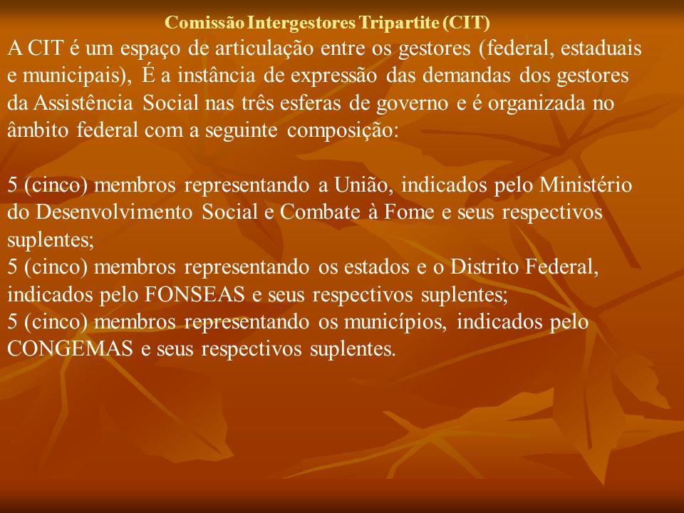 Comissão Intergestores Tripartite (CIT) A CIT é um espaço de articulação entre os gestores (federal, estaduais e municipais), É a instância de express