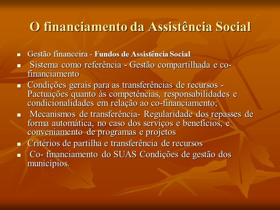 O financiamento da Assistência Social Gestão financeira - Fundos de Assistência Social Gestão financeira - Fundos de Assistência Social Sistema como referência - Gestão compartilhada e co- financiamento Sistema como referência - Gestão compartilhada e co- financiamento Condições gerais para as transferências de recursos - Pactuações quanto às competências, responsabilidades e condicionalidades em relação ao co-financiamento; Condições gerais para as transferências de recursos - Pactuações quanto às competências, responsabilidades e condicionalidades em relação ao co-financiamento; Mecanismos de transferência- Regularidade dos repasses de forma automática, no caso dos serviços e benefícios, e conveniamento de programas e projetos Mecanismos de transferência- Regularidade dos repasses de forma automática, no caso dos serviços e benefícios, e conveniamento de programas e projetos Critérios de partilha e transferência de recursos Critérios de partilha e transferência de recursos Co- financiamento do SUAS Condições de gestão dos municípios.