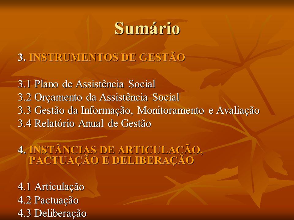 Sumário 3. INSTRUMENTOS DE GESTÃO 3.1 Plano de Assistência Social 3.2 Orçamento da Assistência Social 3.3 Gestão da Informação, Monitoramento e Avalia
